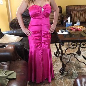 Hot pink prom dress